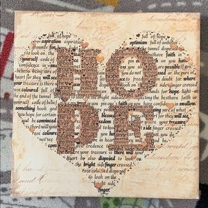 Hope Heart Canvas Wall Art Home Goods 14in x 14in
